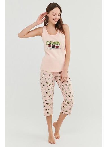 Penti Kadın Pembe Cat Plants  Pijama Takım PNXW5AI921IY Pembe